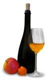 Botella con el vidrio de vino Fotografía de archivo libre de regalías