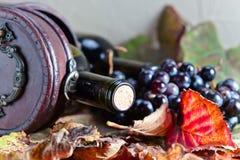 Botella con el vino Fotografía de archivo libre de regalías