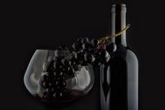 Botella con el vino rojo y vidrio y uvas II Fotografía de archivo