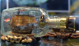 Botella con la nave dentro Imagen de archivo