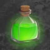 Botella con la poción verde Icono del juego del elixir mágico Diseño brillante para la interfaz de usuario del app Contracción, v imagen de archivo