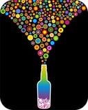 Botella con los redondos del arco iris Foto de archivo