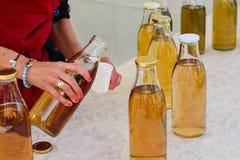 Botella con té del hinojo de la lavanda del verde del kombucha fotos de archivo