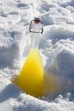Botella con un líquido amarillo en una nieve Fotografía de archivo