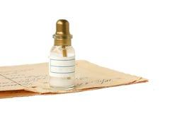Botella con una prescripción foto de archivo