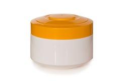 Botella cosmética blanca Imágenes de archivo libres de regalías
