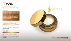 Botella cosmética del producto de belleza con descenso Paquete de la botella del oro, crema cosmética facial del cuidado de piel  Imagen de archivo libre de regalías