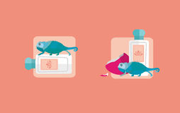 Botella creativa de los iconos de perfume ilustración del vector
