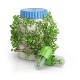 Botella cubierta por las plantas y dos píldoras con las flores dentro Foto de archivo libre de regalías