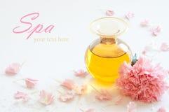 Botella de aceite aromático de la esencia Imagen de archivo libre de regalías