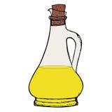 Botella de aceite Botella de aceite verde oliva o vegetal con el corcho Foto de archivo