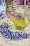 Botella de aceite cosmético Fotografía de archivo libre de regalías