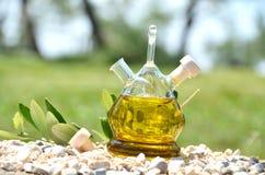 Botella de aceite de oliva en la arboleda verde oliva foto de archivo