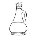 Botella de aceite de oliva o de salsa de soja, vinagre balsámico Fotos de archivo libres de regalías