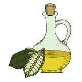 Botella de aceite de sésamo, nueces, blancas en el color 1 Foto de archivo libre de regalías