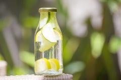 Botella de agua de la frescura con el pepino foto de archivo libre de regalías