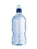 Botella de agua plástica con el top del azul Fotos de archivo libres de regalías
