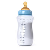 Botella de bebé azul Fotos de archivo libres de regalías