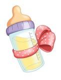 Botella de bebé con el arqueamiento rosado Fotografía de archivo libre de regalías