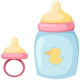 Botella de bebé y pacificador stock de ilustración