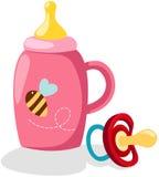 Botella de bebé y pacificador ilustración del vector