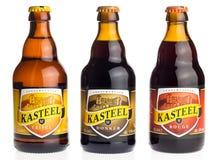 Botella de belga Kasteel Tripel, Donker y cerveza roja Fotografía de archivo libre de regalías