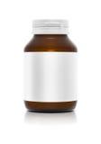 Botella de Brown con la etiqueta blanca Imagenes de archivo