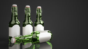 Botella de cerveza con la etiqueta en blanco de lado a lado stock de ilustración