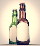 Botella de cerveza con la etiqueta en blanco de lado a lado libre illustration