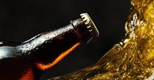 Botella de cerveza congelada fotos de archivo