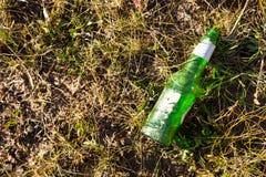 Botella de cerveza en hierba Fotos de archivo