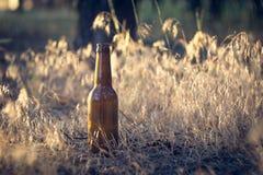 Botella de cerveza en la tierra Imagenes de archivo