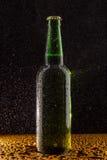 Botella de cerveza marrón fría en negro Imagen de archivo libre de regalías