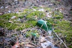 Botella de cerveza quebrada en la tierra Fotografía de archivo