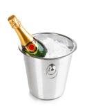 Botella de champán en compartimiento Imagen de archivo libre de regalías