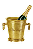 Botella de champán en el cubo de hielo aislado en blanco Fotografía de archivo libre de regalías
