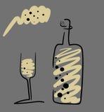 Botella de Champán estilizada con el vidrio Foto de archivo libre de regalías