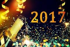 Botella de champán Feliz Año Nuevo Fotografía de archivo libre de regalías