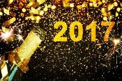 Botella de champán Feliz Año Nuevo Fotos de archivo