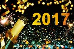 Botella de champán Feliz Año Nuevo Foto de archivo