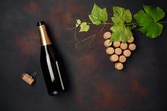 Botella de champán, manojo de la uva del corcho con las hojas en fondo oxidado imagen de archivo