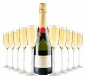 Botella de Champán y vidrios del champán Imagen de archivo