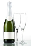 Botella de champán con la escritura de la etiqueta en blanco Fotografía de archivo