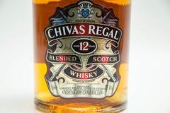 Botella de Chivas 12 años de whisky real Fotografía de archivo libre de regalías