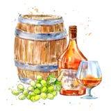Botella de coñac, de barril de madera, de uvas y de vidrios ilustración del vector