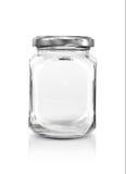 Botella de cristal clara en blanco con el casquillo de plata Imagen de archivo libre de regalías