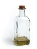 Botella de cristal con aceite de oliva Fotografía de archivo