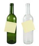Botella de cristal con una etiqueta engomada Fotografía de archivo