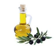Botella de cristal de aceite de oliva superior y de algunas aceitunas maduras con una rama aislada Imágenes de archivo libres de regalías
