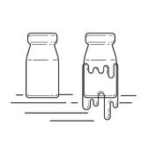 Botella de cristal de leche del vintage Foto de archivo libre de regalías